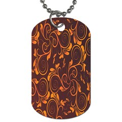 Gold Flower Dog Tag (one Side) by AnjaniArt