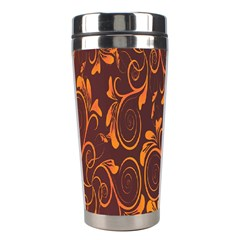Gold Flower Stainless Steel Travel Tumblers by AnjaniArt