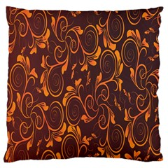 Gold Flower Large Flano Cushion Case (two Sides) by AnjaniArt