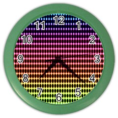 Halftone Pattern Rainbow Color Wall Clocks by AnjaniArt