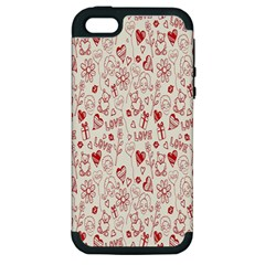 Heart Surface Kiss Flower Bear Love Valentine Day Apple Iphone 5 Hardshell Case (pc+silicone) by AnjaniArt