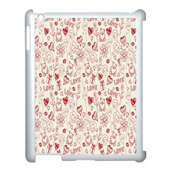 Heart Surface Kiss Flower Bear Love Valentine Day Apple Ipad 3/4 Case (white) by AnjaniArt