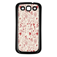 Heart Surface Kiss Flower Bear Love Valentine Day Samsung Galaxy S3 Back Case (black) by AnjaniArt