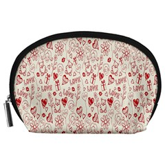 Heart Surface Kiss Flower Bear Love Valentine Day Accessory Pouches (large)  by AnjaniArt