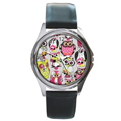 Illustration Seamless Colourful Owl Pattern Round Metal Watch by AnjaniArt