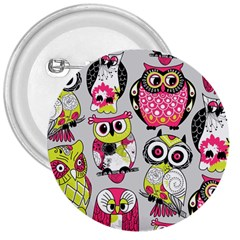 Illustration Seamless Colourful Owl Pattern 3  Buttons by AnjaniArt
