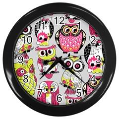 Illustration Seamless Colourful Owl Pattern Wall Clocks (black) by AnjaniArt