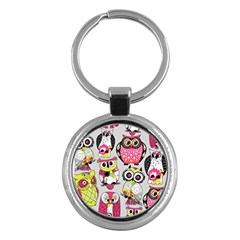 Illustration Seamless Colourful Owl Pattern Key Chains (round)  by AnjaniArt