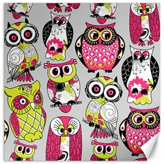 Illustration Seamless Colourful Owl Pattern Canvas 16  X 16   by AnjaniArt