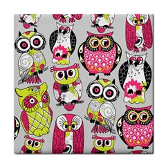 Illustration Seamless Colourful Owl Pattern Face Towel by AnjaniArt