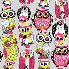 Illustration Seamless Colourful Owl Pattern Magic Photo Cubes by AnjaniArt