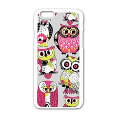 Illustration Seamless Colourful Owl Pattern Apple Iphone 6/6s White Enamel Case by AnjaniArt