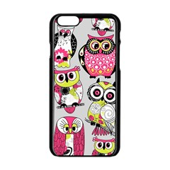 Illustration Seamless Colourful Owl Pattern Apple Iphone 6/6s Black Enamel Case by AnjaniArt