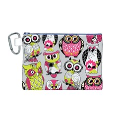 Illustration Seamless Colourful Owl Pattern Canvas Cosmetic Bag (m) by AnjaniArt