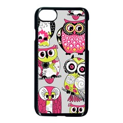 Illustration Seamless Colourful Owl Pattern Apple Iphone 7 Seamless Case (black) by AnjaniArt