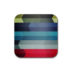 Line Light Stripes Colorful Rubber Coaster (square)  by AnjaniArt