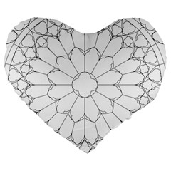 Roses Stained Glass Large 19  Premium Heart Shape Cushions by Amaryn4rt