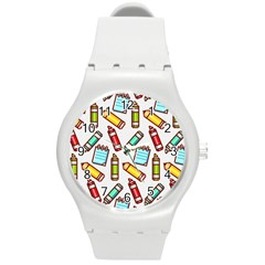 Seamless Pixel Art Pattern Round Plastic Sport Watch (m)
