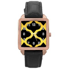 Seamless Gold Pattern Rose Gold Leather Watch  by Amaryn4rt