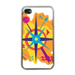 Orange Navigation Apple Iphone 4 Case (clear) by Valentinaart