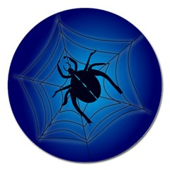 Spider On Web Magnet 5  (round) by Amaryn4rt