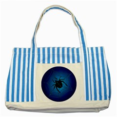 Spider On Web Striped Blue Tote Bag by Amaryn4rt