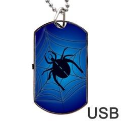 Spider On Web Dog Tag Usb Flash (one Side) by Amaryn4rt