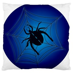 Spider On Web Large Flano Cushion Case (two Sides) by Amaryn4rt