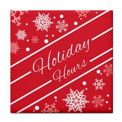 Winter Holiday Hours Tile Coasters