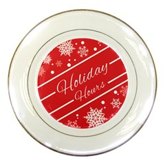Winter Holiday Hours Porcelain Plates by Amaryn4rt