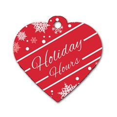 Winter Holiday Hours Dog Tag Heart (one Side) by Amaryn4rt