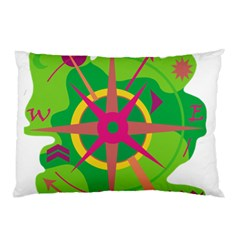 Green Navigation Pillow Case (two Sides) by Valentinaart