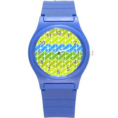 Link Pattern Round Plastic Sport Watch (s) by AnjaniArt