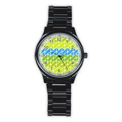 Link Pattern Stainless Steel Round Watch by AnjaniArt