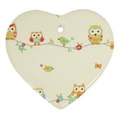 Owl Butterfly Bird Heart Ornament (2 Sides) by AnjaniArt