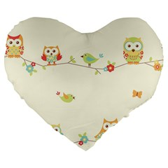 Owl Butterfly Bird Large 19  Premium Flano Heart Shape Cushions by AnjaniArt