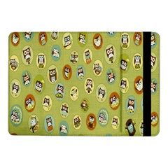Owl Round Green Samsung Galaxy Tab Pro 10 1  Flip Case by AnjaniArt