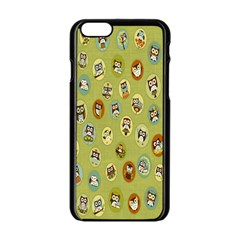 Owl Round Green Apple Iphone 6/6s Black Enamel Case by AnjaniArt