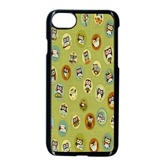 Owl Round Green Apple Iphone 7 Seamless Case (black) by AnjaniArt