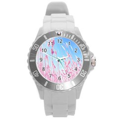 Pink Colour Round Plastic Sport Watch (l) by AnjaniArt