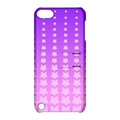 Purple And Pink Stars Line Apple Ipod Touch 5 Hardshell Case With Stand by AnjaniArt