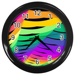 Rainbow Wall Clocks (black) by AnjaniArt