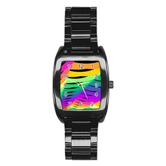 Rainbow Stainless Steel Barrel Watch by AnjaniArt