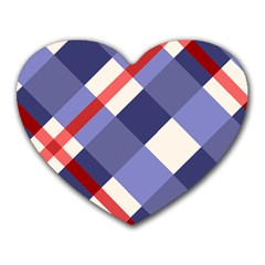 Red And Purple Plaid Heart Mousepads by AnjaniArt