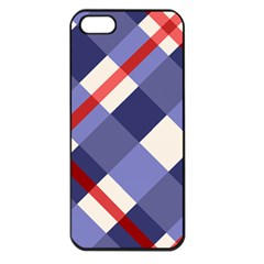 Red And Purple Plaid Apple Iphone 5 Seamless Case (black) by AnjaniArt