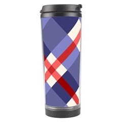 Red And Purple Plaid Travel Tumbler by AnjaniArt