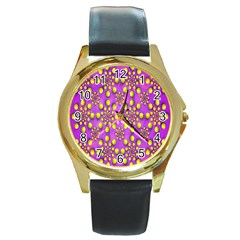 Purple Optical Illusion Wallpaper Round Gold Metal Watch by AnjaniArt