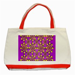 Purple Optical Illusion Wallpaper Classic Tote Bag (red) by AnjaniArt