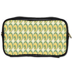 Pattern Circle Green Yellow Toiletries Bags 2 Side by AnjaniArt