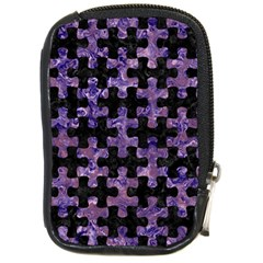 Puzzle1 Black Marble & Purple Marble Compact Camera Leather Case by trendistuff